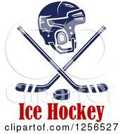 Clipart Of A Helmet With Crossed Ice Hockey Sticks And A Puck Over Text Royalty Free Vector Illustration
