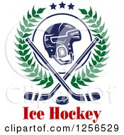 Clipart Of A Helmet With Crossed Ice Hockey Sticks In A Wrealth And A Puck Over Text Royalty Free Vector Illustration