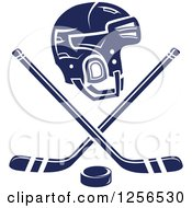 Clipart Of A Navy Blue Helmet With Crossed Ice Hockey Sticks And A Puck Royalty Free Vector Illustration by Seamartini Graphics