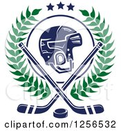 Clipart Of A Helmet With Crossed Ice Hockey Sticks And A Puck In A Wreath Royalty Free Vector Illustration by Seamartini Graphics