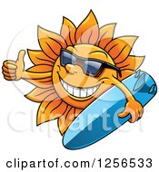 Clipart Of A Summer Sun Wearing Glasses And Holding A Surfboard With A Thumb Up Royalty Free Vector Illustration by Vector Tradition SM