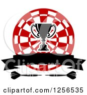 Clipart Of A Trophy Cup And Banner Over A Target And Darts Royalty Free Vector Illustration