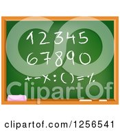 School Chalkboard With Numbers And Math Symbols