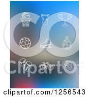 Clipart Of White Sports Icons On Blurred Blue Royalty Free Vector Illustration by Vector Tradition SM