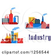 Clipart of Colorful Factories with Industry Text - Royalty Free Vector Illustration by Vector Tradition SM