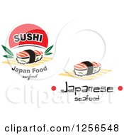 Clipart Of Japanese Sushi Designs Royalty Free Vector Illustration