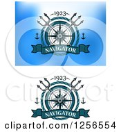 Clipart Of Nautical Labels With Anchors Compasses Tridents And Ropes Royalty Free Vector Illustration by Vector Tradition SM