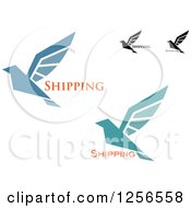 Clipart Of Birds With Shipping Text Royalty Free Vector Illustration