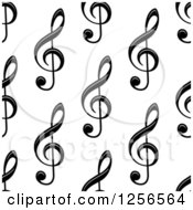 Clipart Of A Seamless Black And White Music Clef Note Background Royalty Free Vector Illustration