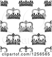 Clipart Of A Seamless Pattern Background Of Black And White Crowns Royalty Free Vector Illustration