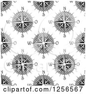 Clipart Of A Seamless Pattern Background Of Black And White Compasses Royalty Free Vector Illustration
