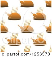 Clipart Of A Seamless Hot Roasted Chicken Or Turkey Background Royalty Free Vector Illustration by Vector Tradition SM