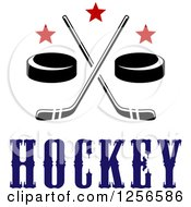 Clipart Of Crossed Ice Hockey Sticks And Pucks With Stars Over Text Royalty Free Vector Illustration