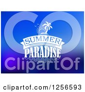 Clipart Of Summer Paradise Text And Island On Blue Royalty Free Vector Illustration by Vector Tradition SM