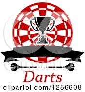 Clipart Of A Trophy Cup And Banner Over A Target Darts And Text Royalty Free Vector Illustration