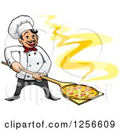 Clipart Of A Happy Pizza Chef Royalty Free Vector Illustration