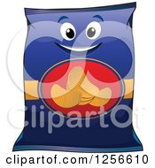 Clipart Of A Bag Of Potato Chips Character Royalty Free Vector Illustration