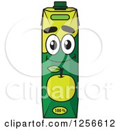 Clipart Of A Green Apple Juice Carton Character Royalty Free Vector Illustration
