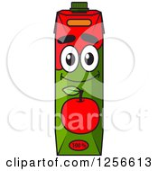 Clipart Of A Red Apple Juice Carton Character Royalty Free Vector Illustration