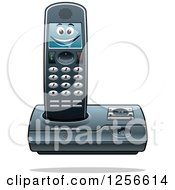 Clipart Of A Happy Cordless Telephone Character Royalty Free Vector Illustration