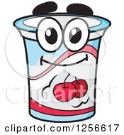 Clipart Of A Happy Cherry Yogurt Character Royalty Free Vector Illustration by Vector Tradition SM