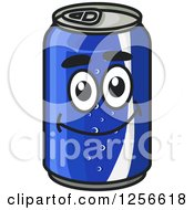 Clipart Of A Happy Blue Soda Can Royalty Free Vector Illustration