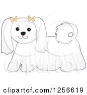 Clipart Of A Cute White Maltese Dog Wearing Bows Royalty Free Vector Illustration