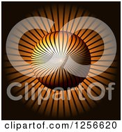 Clipart Of A 3d Ray Sphere On Orange Royalty Free Illustration