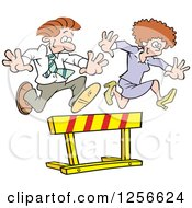 Clipart Of A Happy White Businesswoman And Man Leaping Over A Hurdle Obstacle Royalty Free Vector Illustration by Johnny Sajem