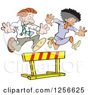 Clipart Of A Happy Black Businesswoman And White Businessman Leaping Over A Hurdle Obstacle Royalty Free Vector Illustration by Johnny Sajem