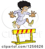 Clipart Of A Happy Black Businesswoman Leaping Over A Hurdle Obstacle Royalty Free Vector Illustration by Johnny Sajem