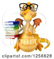Clipart Of A 3d Bespectacled Yellow Dragon Pointing And Holding A Stack Of Books Royalty Free Illustration
