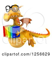 Clipart Of A 3d Bespectacled Yellow Dragon Flying With Books Royalty Free Illustration