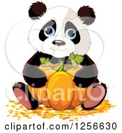 Clipart Of A Cute Halloween Panda Hugging A Pumpkin Royalty Free Vector Illustration