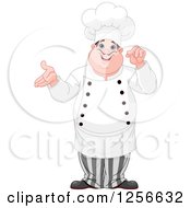 Clipart Of A Chubby Caucasian Male Chef Presenting Royalty Free Vector Illustration