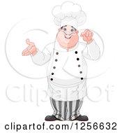 Chubby Caucasian Male Chef Presenting