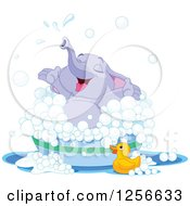 Clipart Of A Cute Purple Baby Elephant Playing In A Bubble Bath Royalty Free Vector Illustration