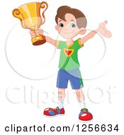 Happy Caucasian Boy Holding Up A Sports Championship Trophy