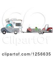 Clipart Of A Caucasian Man Driving A Truck And Camper And Towing Atvs And A Utv Royalty Free Vector Illustration by Dennis Cox