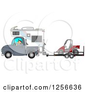 Clipart Of A Caucasian Man Driving A Truck And Camper And Towing A Utv Royalty Free Vector Illustration