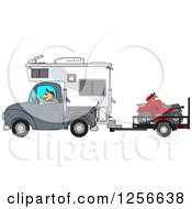 Clipart Of A Caucasian Man Driving A Truck And Camper And Towing An Atv Royalty Free Vector Illustration