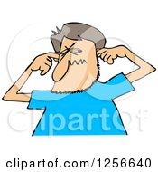 Clipart Of A Cartoon Caucasian Man Plugging His Ears Royalty Free Vector Illustration