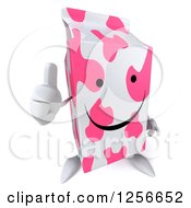 Clipart Of A 3d Pink Spotted Strawberry Milk Carton Character Giving A Thumb Up Royalty Free Illustration