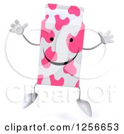 Clipart Of A 3d Pink Spotted Strawberry Milk Carton Character Jumping Royalty Free Illustration