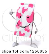 Clipart Of A 3d Pink Spotted Strawberry Milk Carton Character With An Idea Royalty Free Illustration