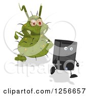 Clipart Of A Green Germ Virus Monster Chasing A Computer Tower Royalty Free Illustration