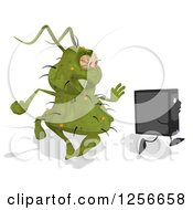 Poster, Art Print Of Green Germ Virus Monster Chasing A Computer Tower