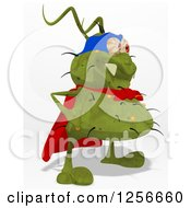 Clipart Of A Green Super Germ Royalty Free Illustration