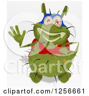 Clipart Of A Green Super Germ Waving Royalty Free Illustration