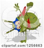 Clipart Of A Green Super Germ Cartwheeling Royalty Free Illustration